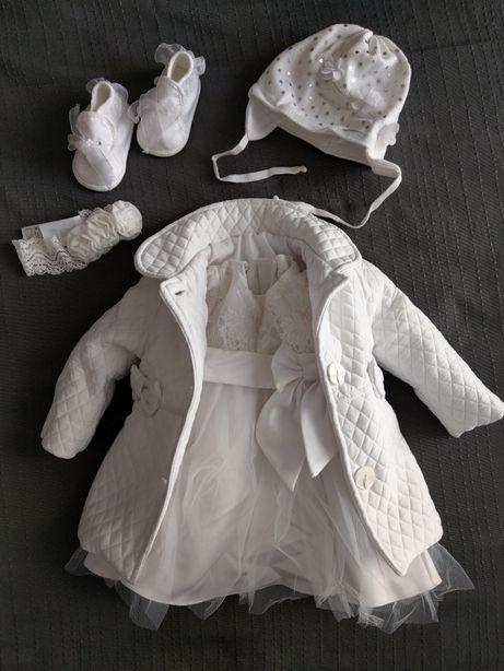 Ubranko ubranie zestaw komplet do chrztu dla dziewczynki rozm. 68/74