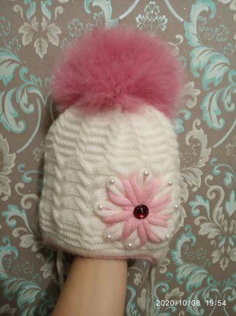 Шапка, шапочка для девочки, белая на 1-2 годика