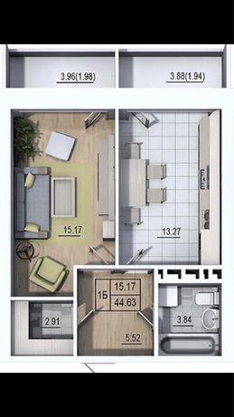 1 Кімнатна квартира 44.63 вул,Шевченка 307 в готовій новобудові