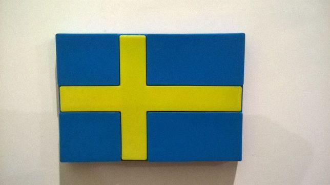 Магніт холодильник Швеція Скандинавія прапор резина