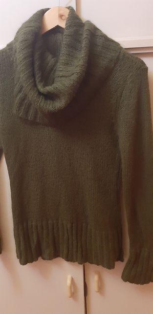 H&M sweter z kominem/kołnierzem/golf S/M butelkowa zieleń
