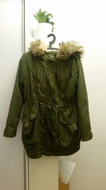 Romwe kurtka zimowa z futerkiem misiem S podpinka parka płaszcz