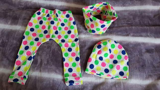 Nowy Kolorowy komplet spodnie komin czapka 74-80