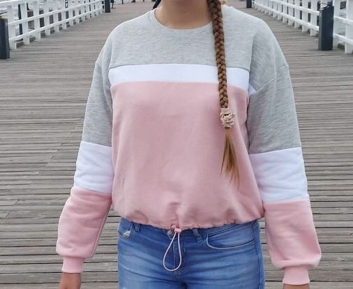 Bluza pastelowa s 36 new yorker szaro bialo rożowa
