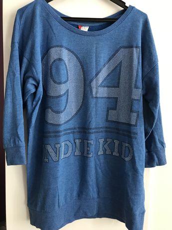Bluza bluzeczka niebieska cekiny numer napis H&M XL 42