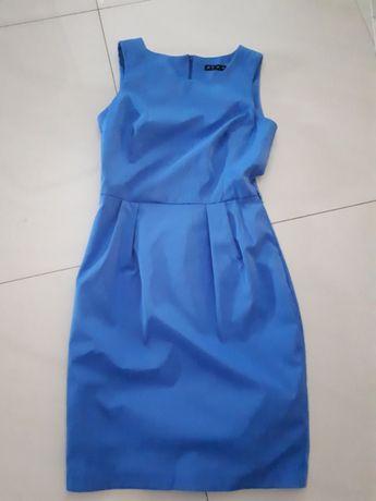 Sukienka chabrowa taliowana