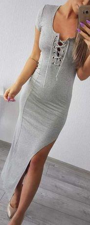 Sukienka maxi z rozcieciem i wiązaniem w biuście S 36 szara