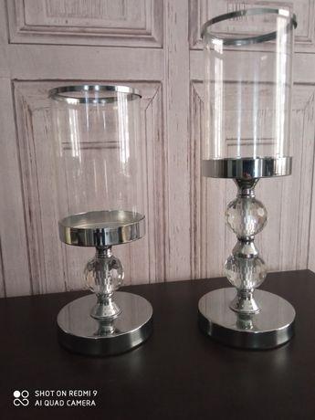 Świeczniki szklane komplet