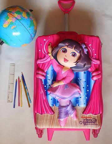 Kit Mochila 3D Bailarina Dora A Aventureira Rosa + Lancheira Térmica