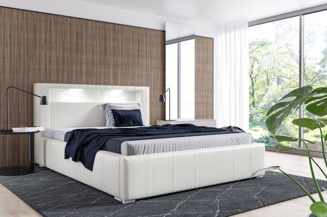 Łóżko tapicerowane Palermo LED stelaż pojemnik