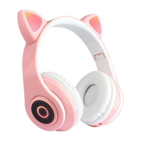 Słuchawki bezprzewodowe, różowe