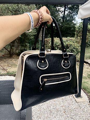 Nowa, czarno-biała torebka orsay ze złotymi wstawkami