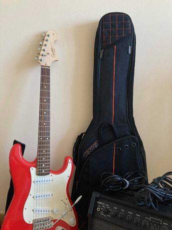 Gitara elektryczna Squier Fender + wzmacniacz + pokrowiec