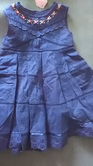 Нарядное хлопковое новое платье для девочки 1-1,5 года.