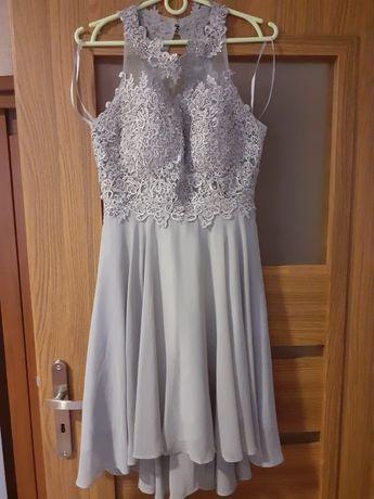 Sukienka szara srebrna wieczorowa wesele