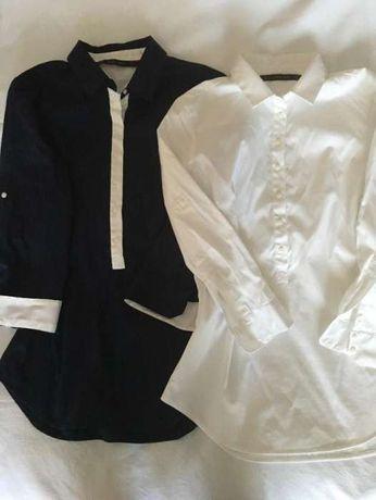 Koszule damskie granatowa i biała ZARA