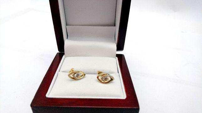 Złote kolczyki Cyrkonie P333 1,54G