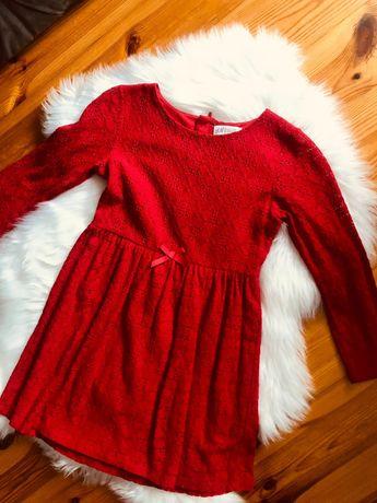 Sukienka koronkowa czerwona z kokardką