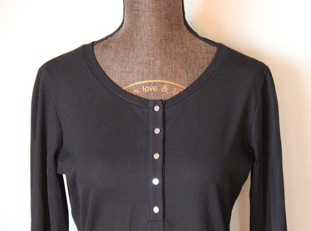 Czarna bluzka koszula SIMPLE prazek długi rekaw 36 S 34 Xs