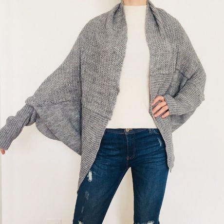 Sweter szary kardigan