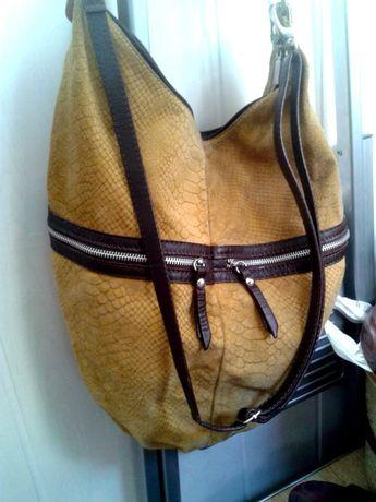 большая сумка замшевая genuine leather borse in pelle italy(акция!)