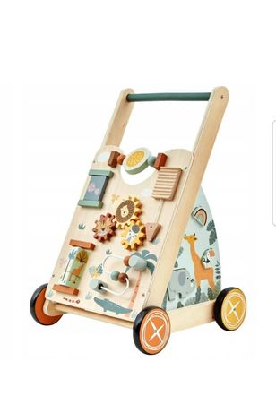 Drewniany jeździk chodzik edukacyjny, pchacz dla dzieci
