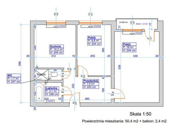 Sprzedam mieszkanie 50,4 m2, Mydlice Dąbrowa Górnicza do remontu