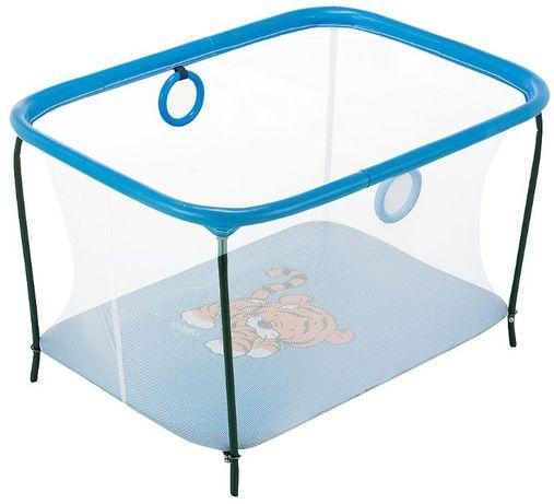 Манеж детский KinderBox люкс с мелкой сеткой Синий тигренок.
