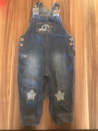 Spodnie ogrodniczki jeansowe 74 cm 9 m-cy