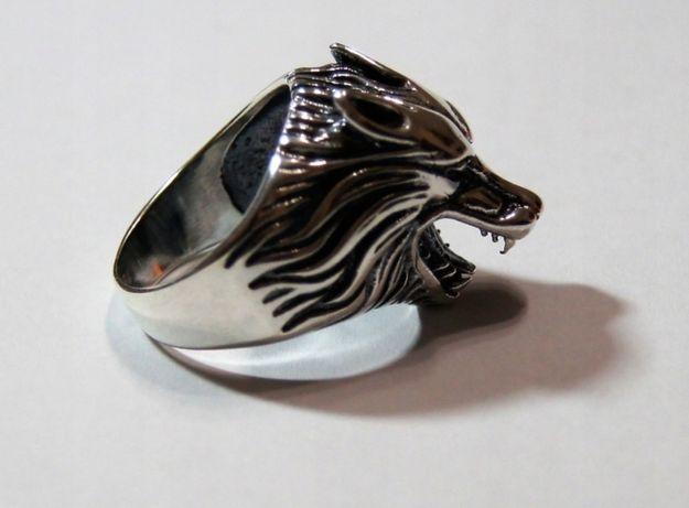 Sygnet Pierścień Obrączka Wilk Wilkołak PIĘKNY