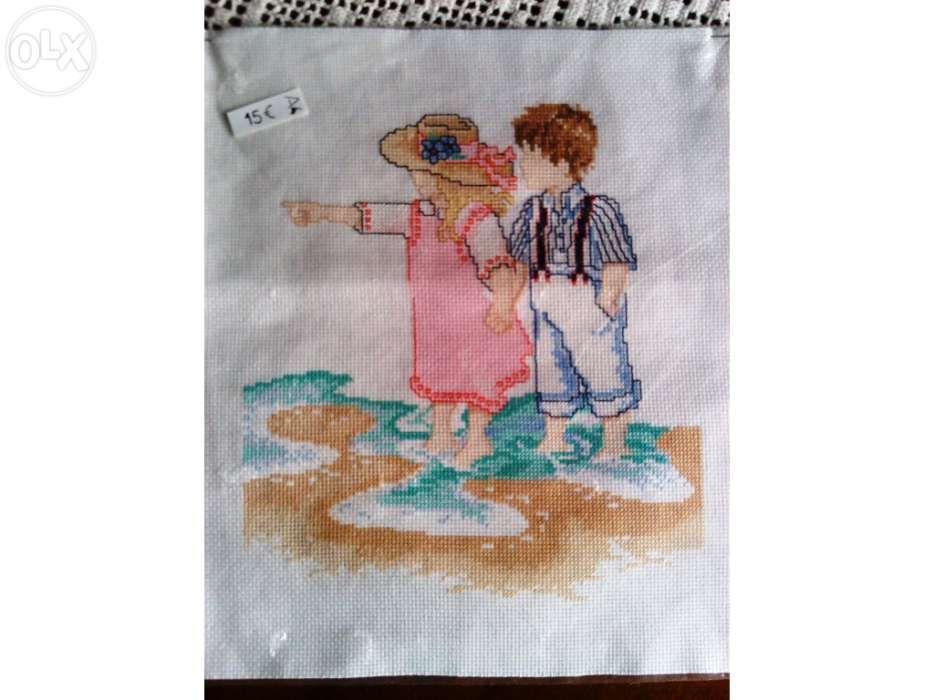 """Quadro Ponto Cruz """"À beira mar"""" - portes incluídos Tábua - imagem 1"""