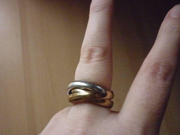 Dwukolorowy pierścionek obrączka stal chirurgiczna