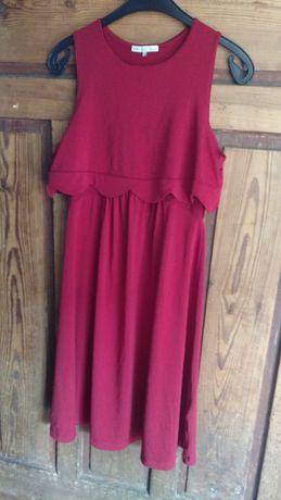 Elegancka sukienka ciążowa, czerwona, rozm. S/M, stan idealny