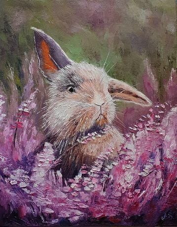 Кролик, картина маслом
