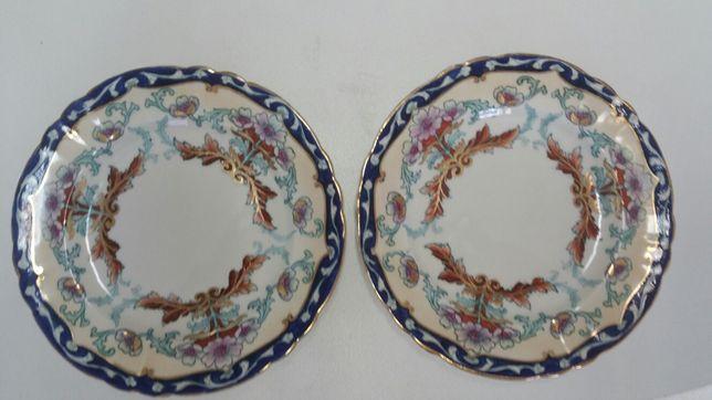 2 pratos decorativos vintage de loiça inglesa