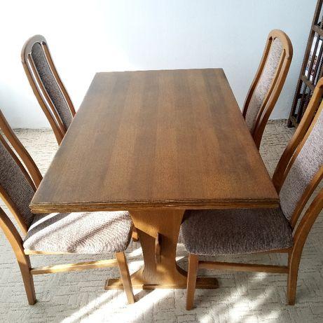 Stół dębowy rozkładany z krzesłami - sprzedaż do 23 kwietnia