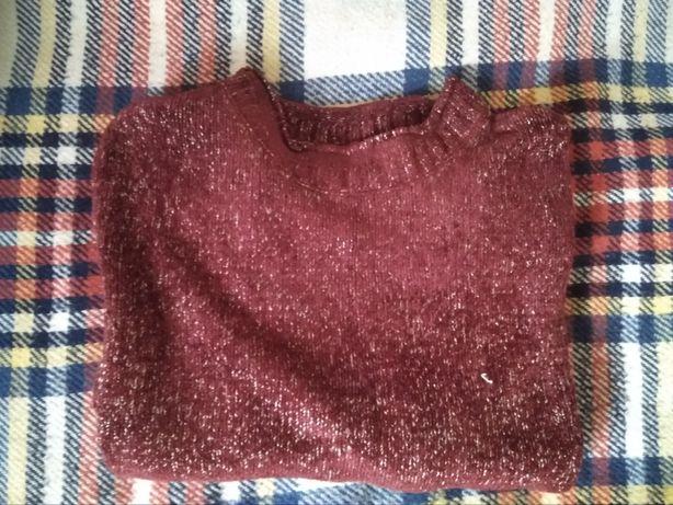 Sweter bordowy z jasnym przeplotem