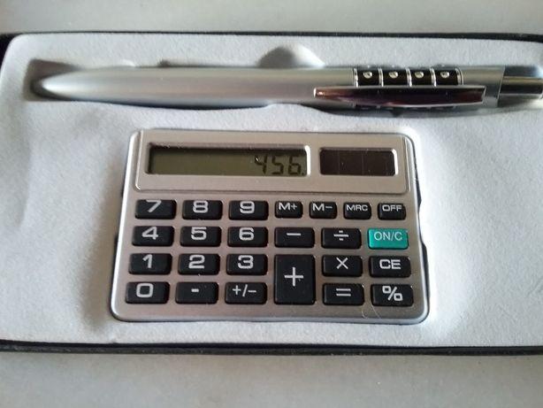 Conjunto máquina calcular e esferográfica (novo)