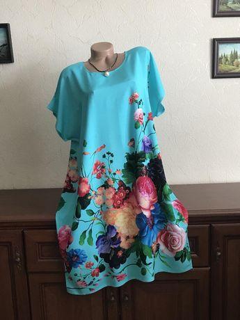 Яркое платье туника натуральный штапель 56-60р