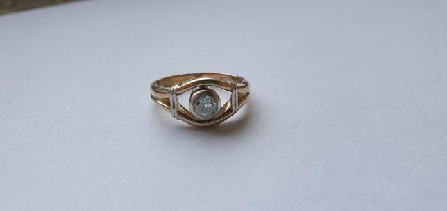 Złoty pierścionek (żółte złoto + srebro) certyfikat