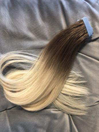 Włosy naturalne dziewicze tape on kanapki 64cm 102g ombre