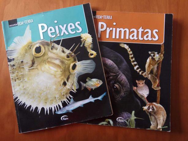Três Livros - Primatas, Mamíferos Marinhos e Peixes