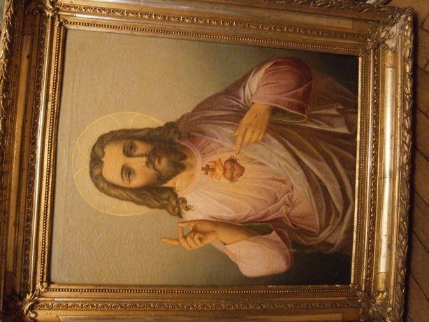 Para obrazów religijnych , płótno , olej , ramy , wym. 100x80 cm.