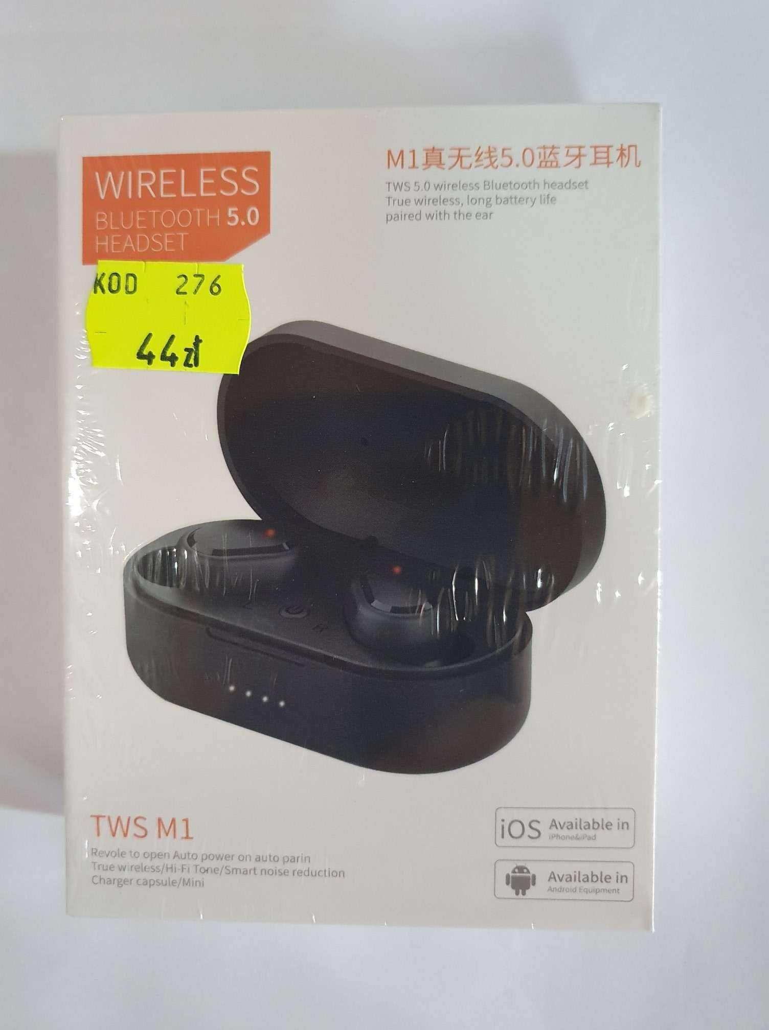 NOWE słuchawki bezprzewodowe bluetooth powerbank białe uniwersalne