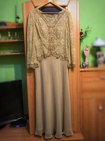Długa sukienka karnawał, sylwester, studniówka, wesele - beżowa.