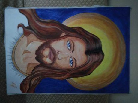 Wielki obraz Jezus Chrystus ręcznie malowany na płótnie drewniana rama