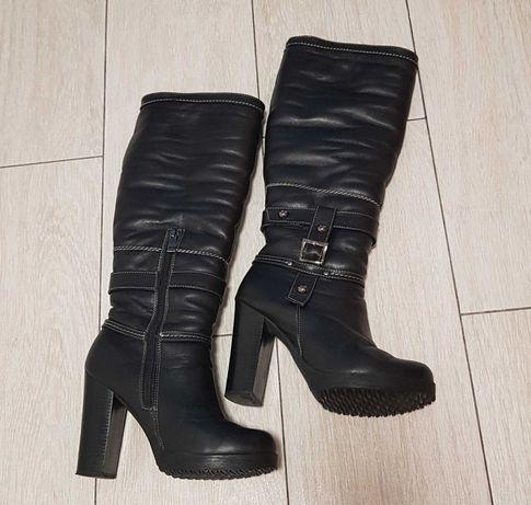 Шкіряні жіночі зимові чоботи 36р сапожки женские сапоги ботинки