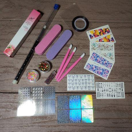 Набор для дизайна маникюра и ухода пушер, наклейки, конфети,баф, масло