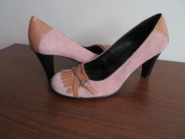 LAUREANA skórzane włoskie szpilki buty na obcasie, SKÓRA, NOWE, 40
