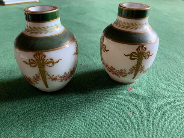 2 potes miniatura risca verde porcelana